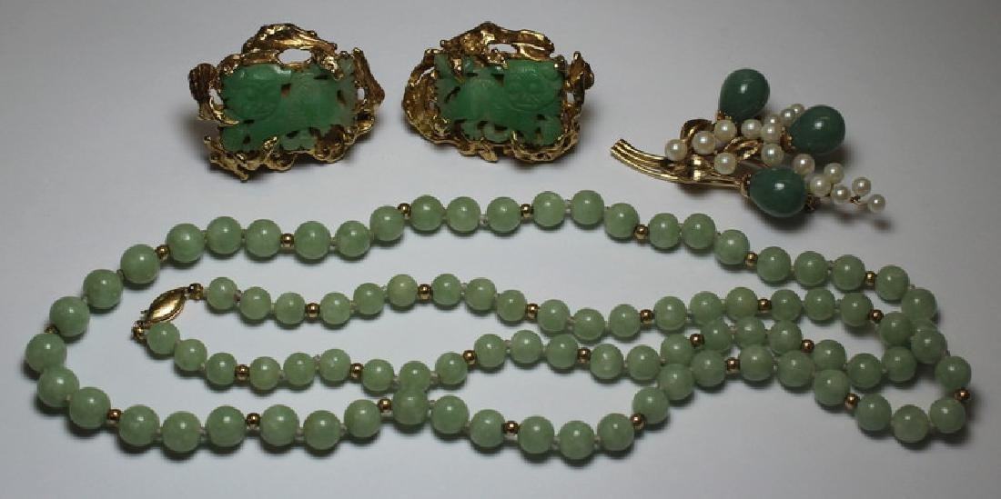 JEWELRY. Assorted Jade and Gold Jewelry Grouping.