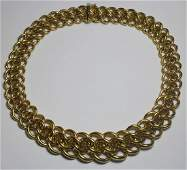 JEWELRY. Italian 18kt Gold Graduated Link Necklace