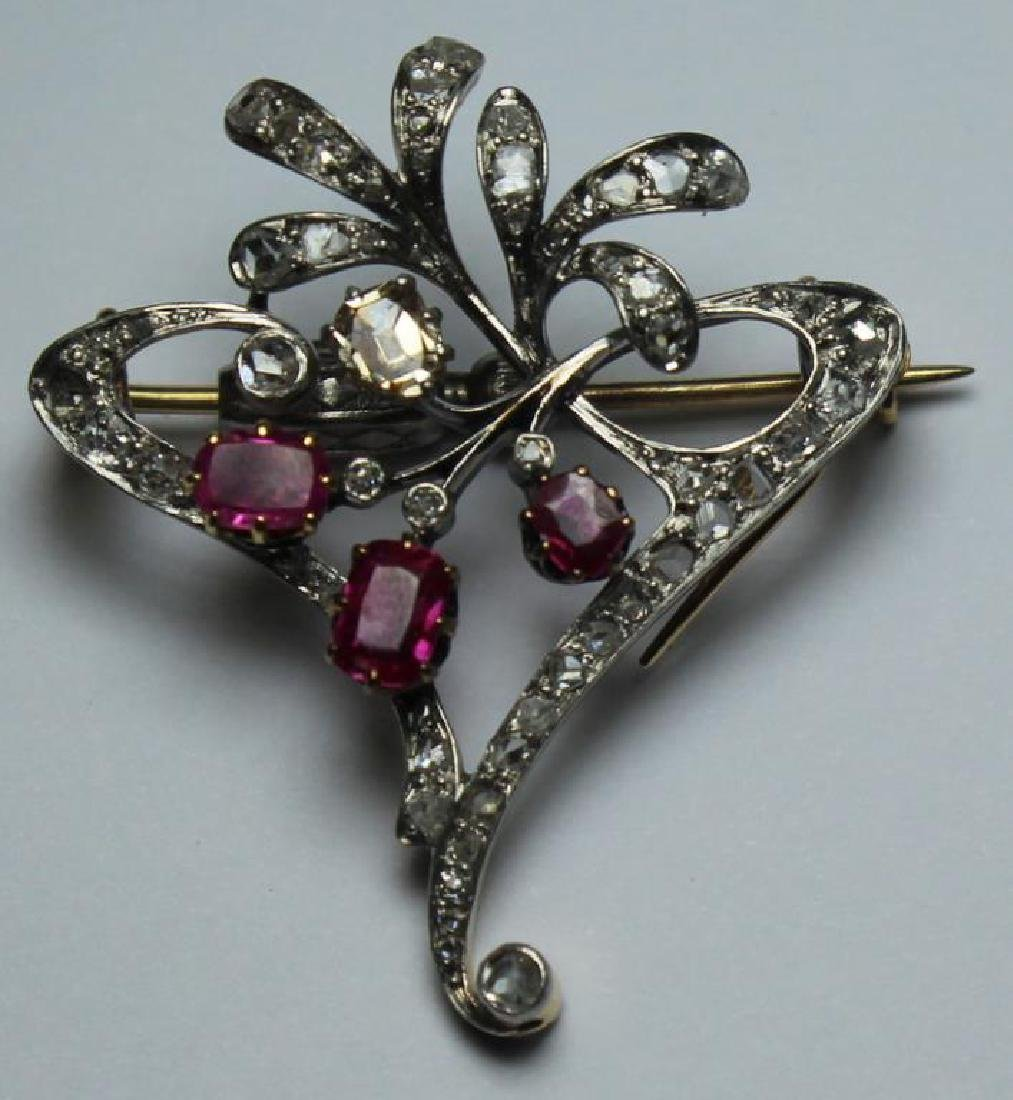 JEWELRY. Antique Diamond, Ruby, and Gold Brooch.