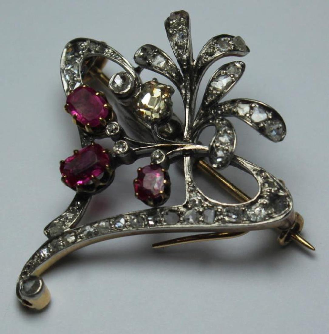 JEWELRY. Antique Diamond, Ruby, and Gold Brooch. - 2