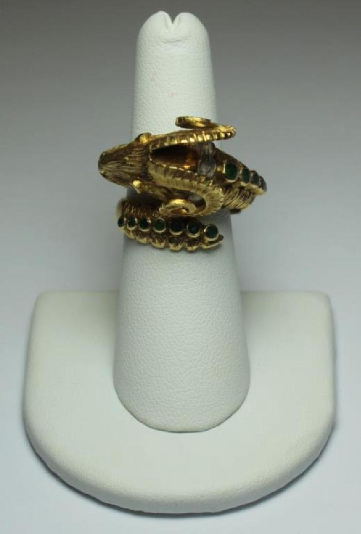 JEWELRY. Ilias Lalaounis 18kt Gold Ram's Head Ring