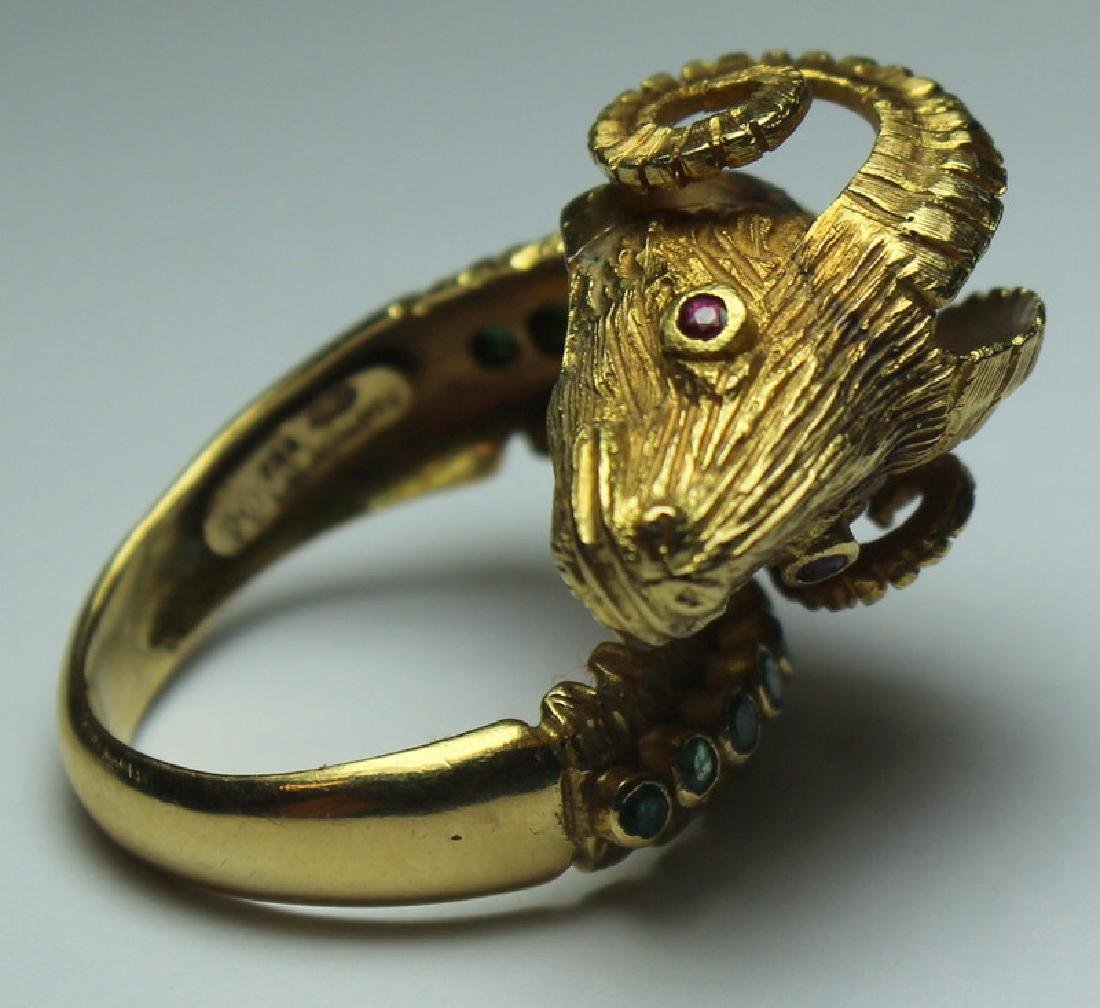 JEWELRY. Ilias Lalaounis 18kt Gold Ram's Head Ring - 2