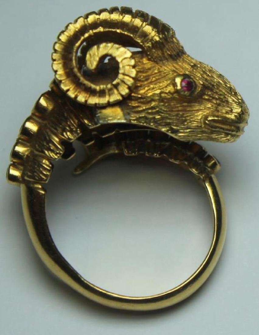 JEWELRY. Ilias Lalaounis 18kt Gold Ram's Head Ring - 6