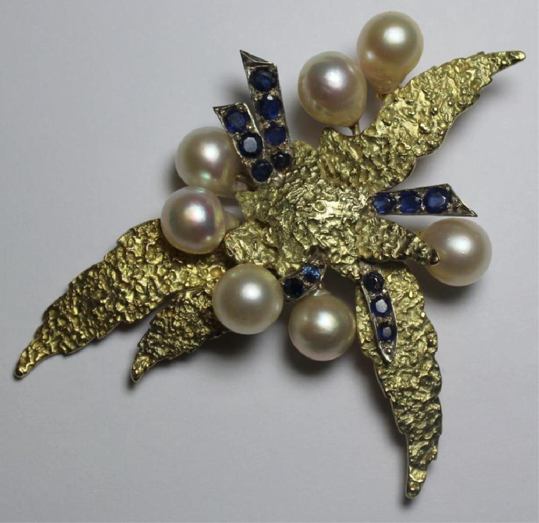 JEWELRY. Large Modernist 14kt Gold, Sapphire, and