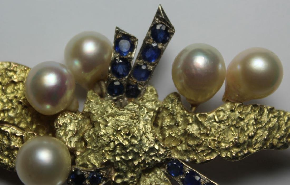 JEWELRY. Large Modernist 14kt Gold, Sapphire, and - 3