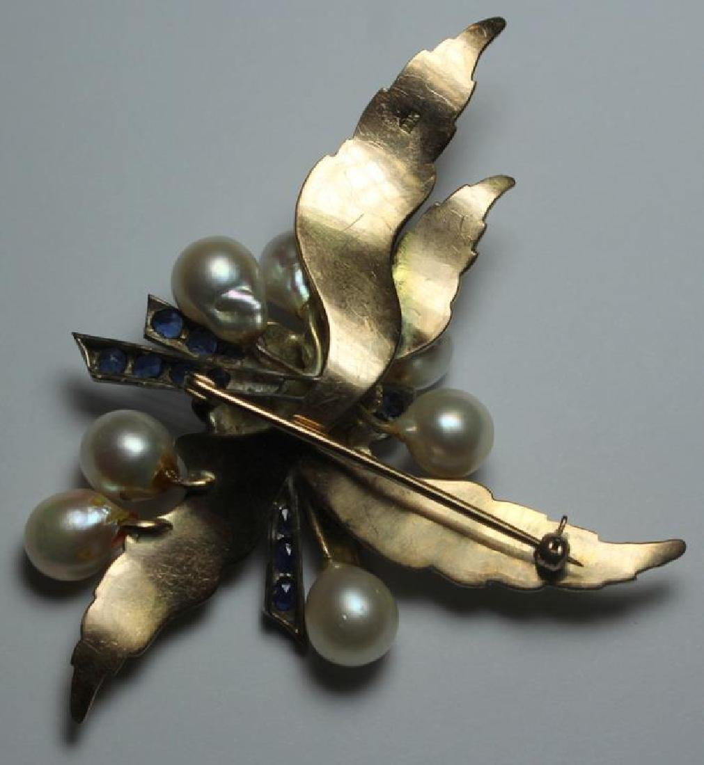 JEWELRY. Large Modernist 14kt Gold, Sapphire, and - 4