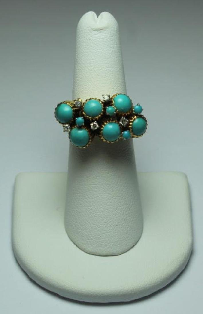 JEWELRY. J. Rossi 18kt Gold, Turquoise and Diamond