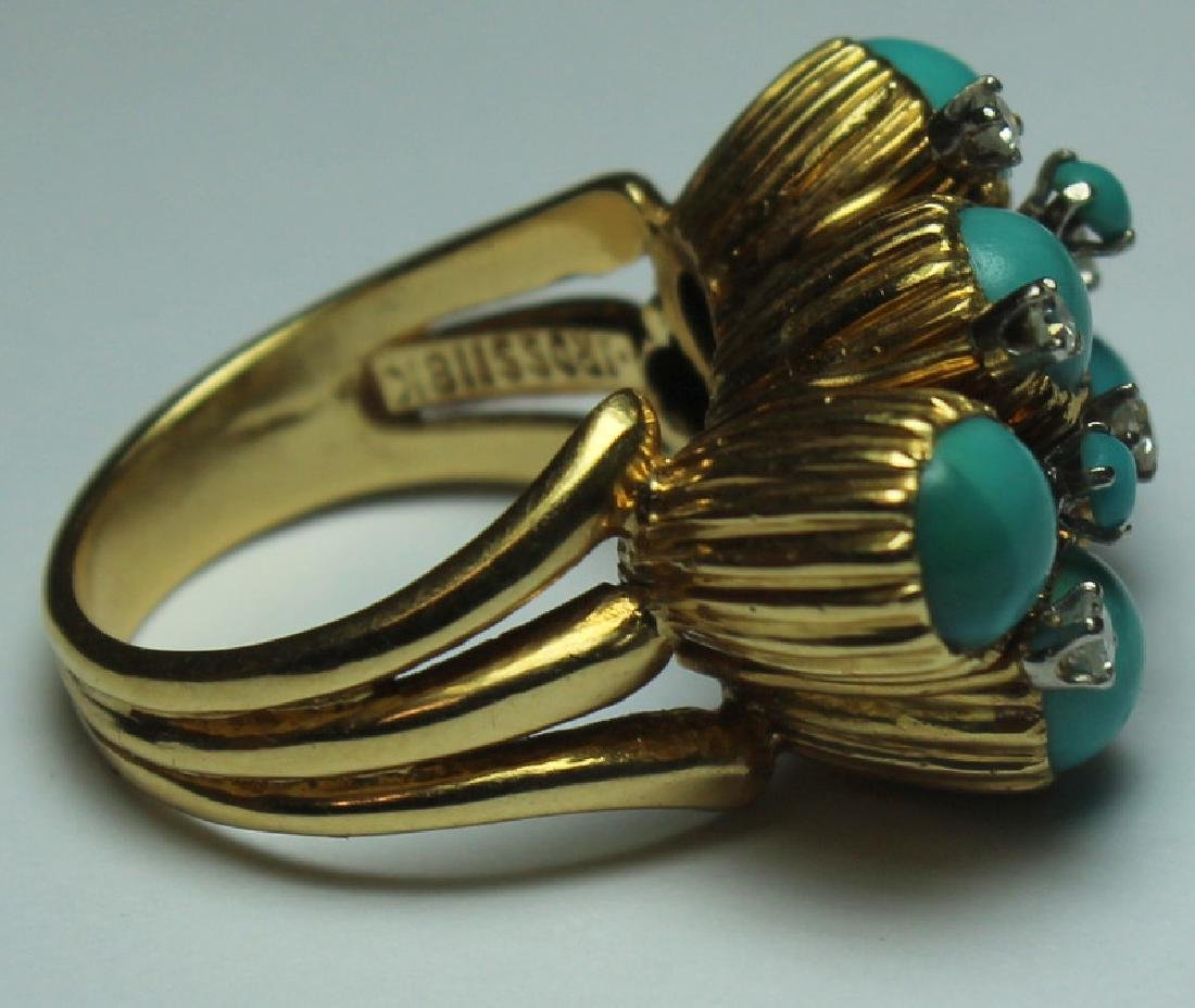 JEWELRY. J. Rossi 18kt Gold, Turquoise and Diamond - 3