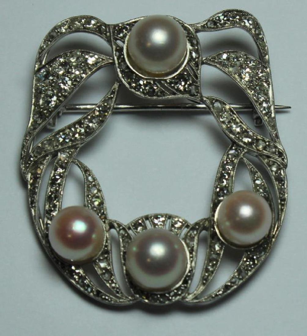 JEWELRY. French Platinum, Diamond and Pearl Brooch