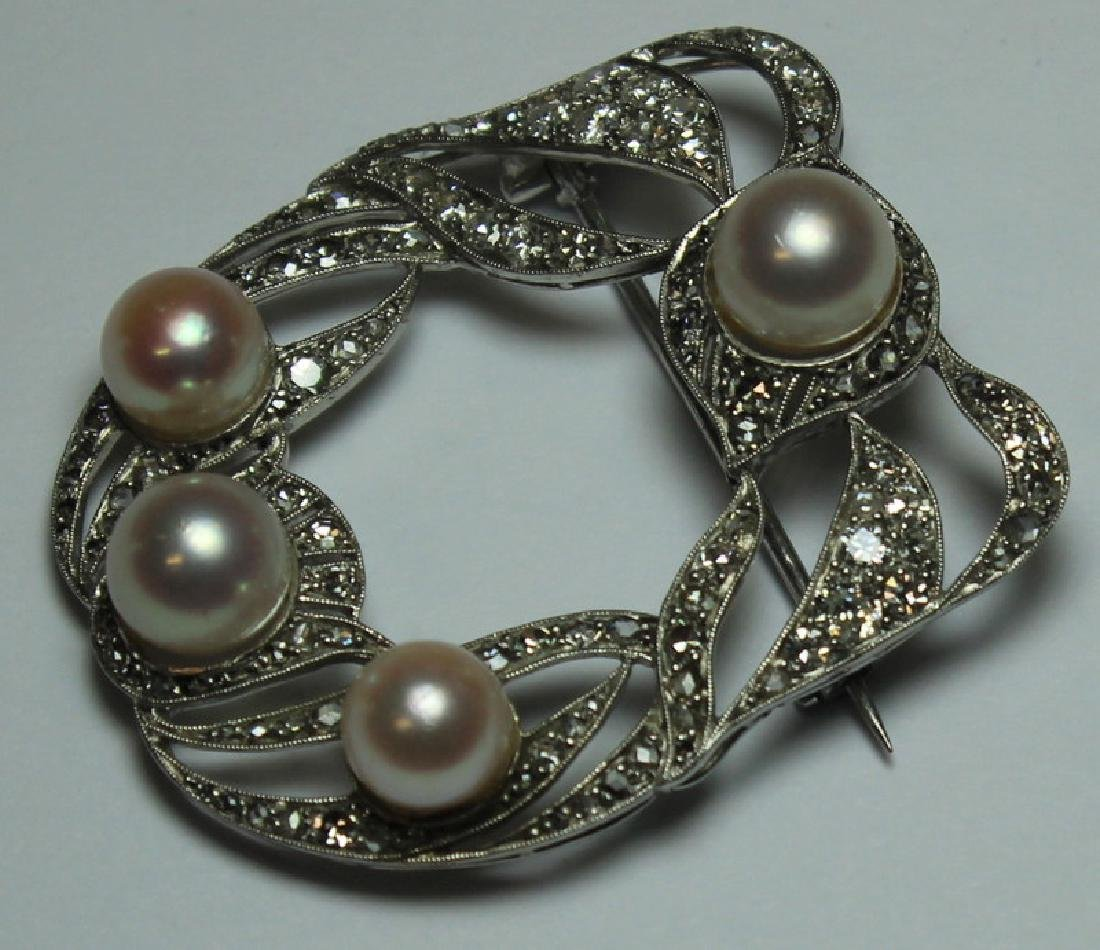 JEWELRY. French Platinum, Diamond and Pearl Brooch - 3