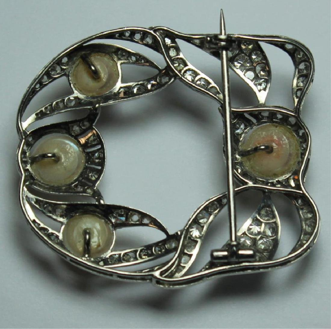JEWELRY. French Platinum, Diamond and Pearl Brooch - 4