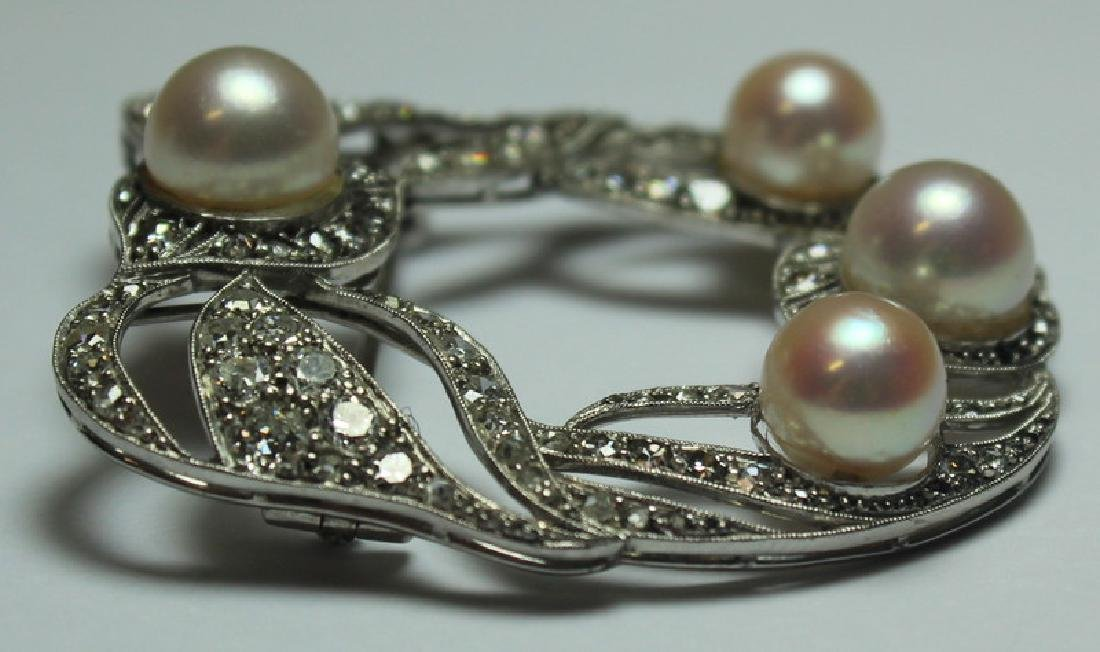 JEWELRY. French Platinum, Diamond and Pearl Brooch - 5