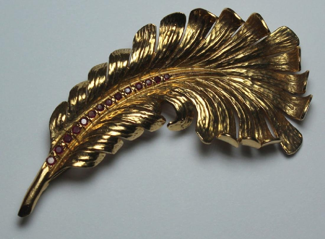JEWELRY. Tiffany & Co. 14kt Gold and Ruby Plume