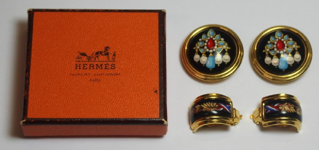 JEWELRY. (2) Pairs of Hermes Earrings or Ear Clips