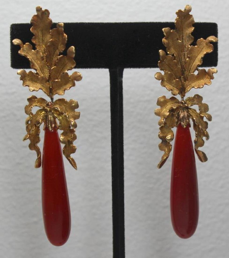 JEWELRY. Pair of Buccellati 18kt Gold & Red Coral