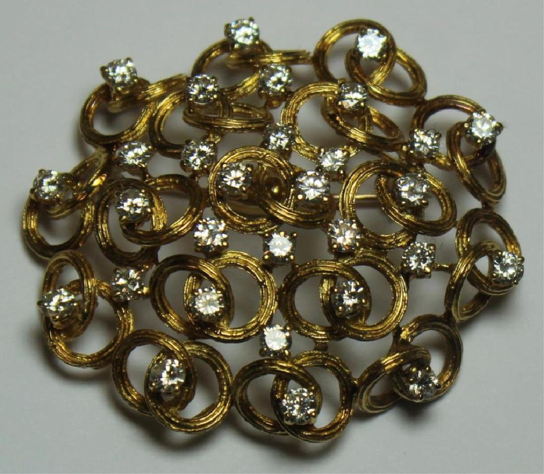 JEWELRY. Italian 18kt Gold and Diamond Brooch.