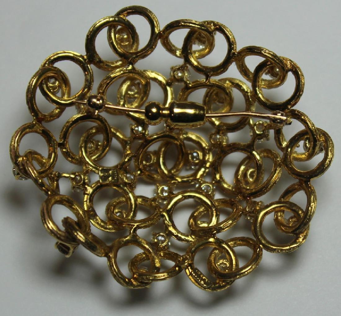 JEWELRY. Italian 18kt Gold and Diamond Brooch. - 4