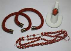 JEWELRY. Grouping of Estate Coral Jewelry.