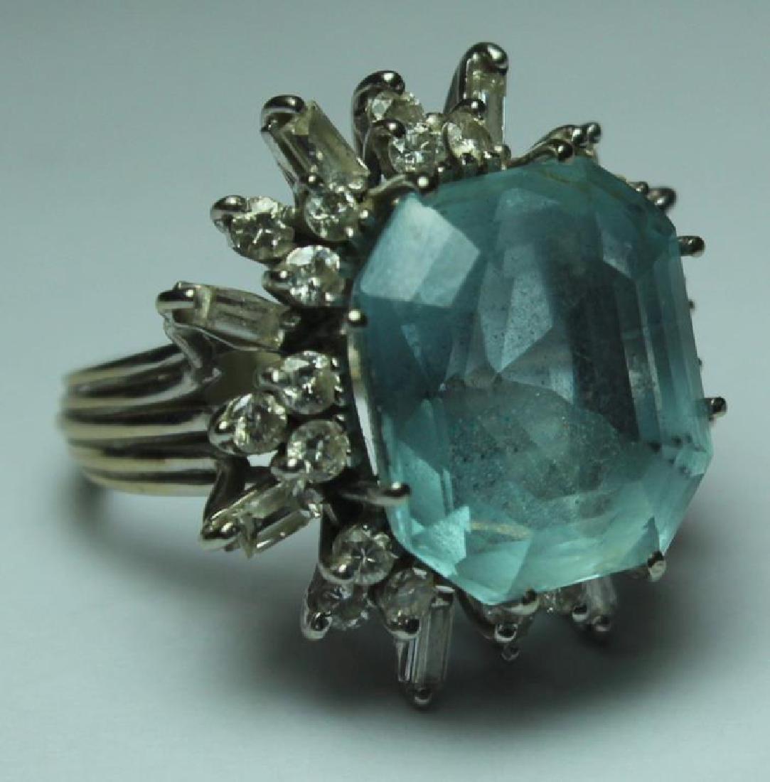 JEWELRY. 18kt Gold, Aquamarine, and Diamond Ring.