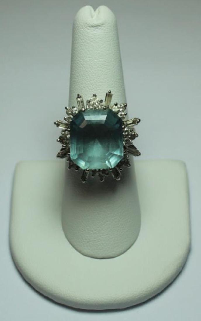 JEWELRY. 18kt Gold, Aquamarine, and Diamond Ring. - 2