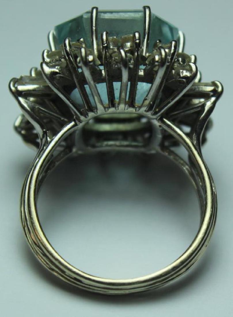 JEWELRY. 18kt Gold, Aquamarine, and Diamond Ring. - 4