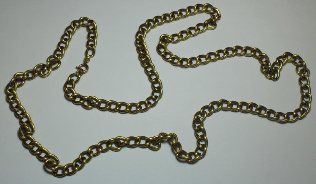JEWELRY. Italian 18kt Gold Chain Link Necklace. - 2