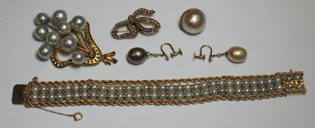 JEWELRY. Assorted Gold and Pearl Jewelry Grouping.