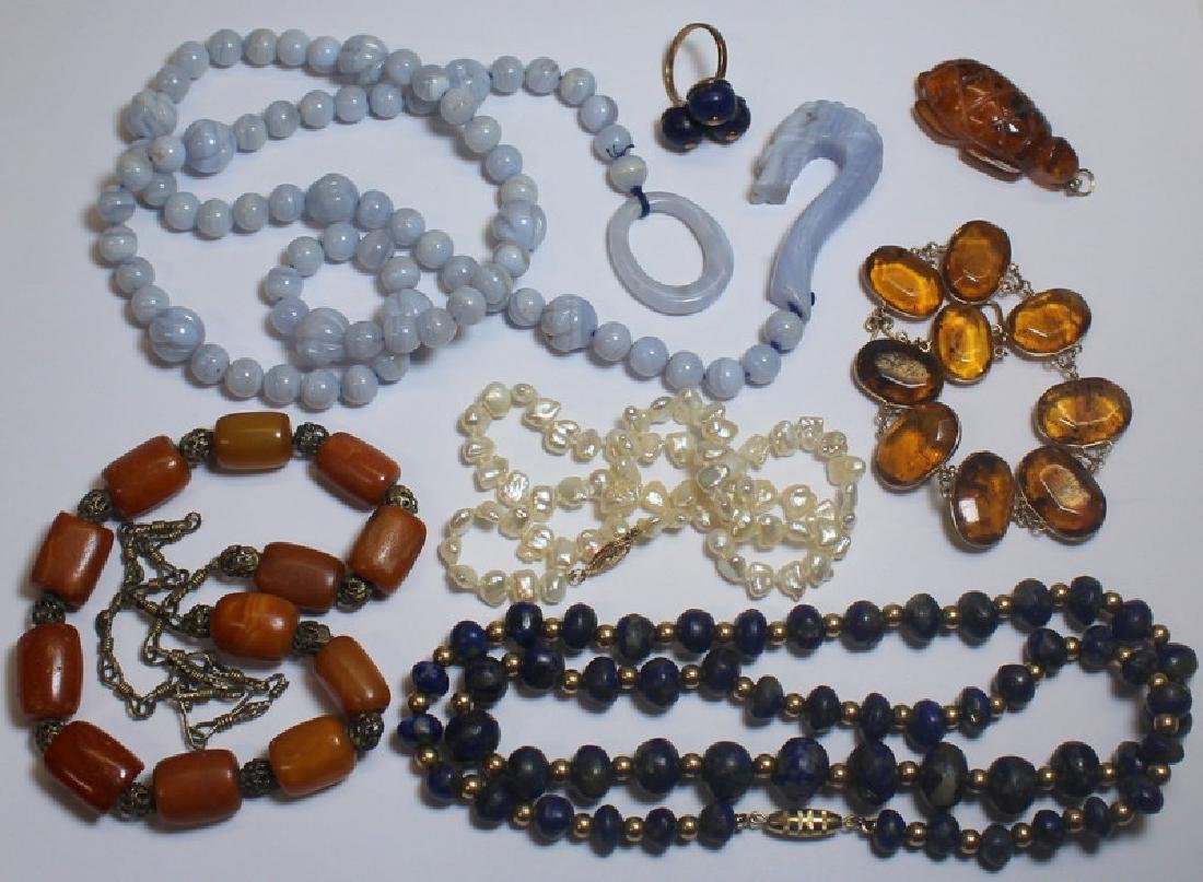 JEWELRY. Assorted Natural Gem Jewelry Grouping.