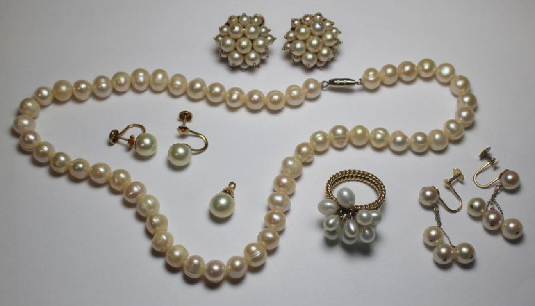 JEWELRY. Gold and Pearl Jewelry Grouping.