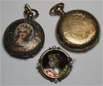 JEWELRY. Assorted Pocket Watch and Enamel Grouping