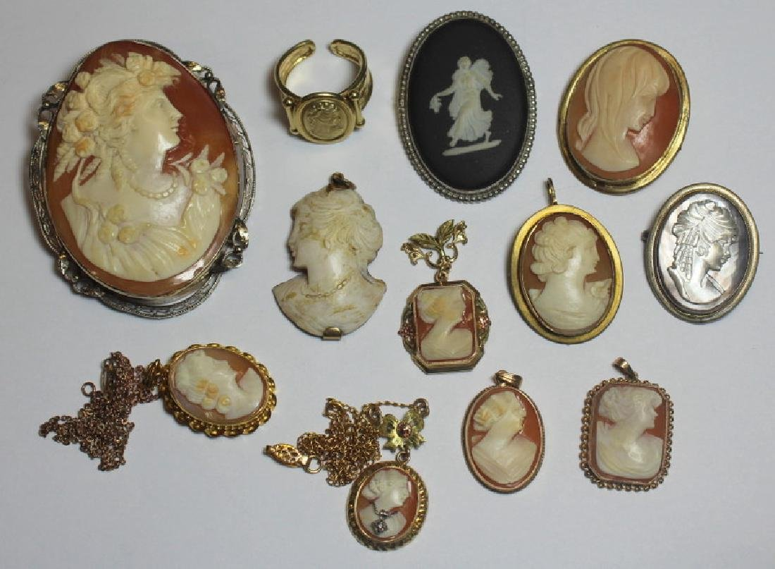 JEWELRY. Assorted Grouping of Cameo Jewelry.