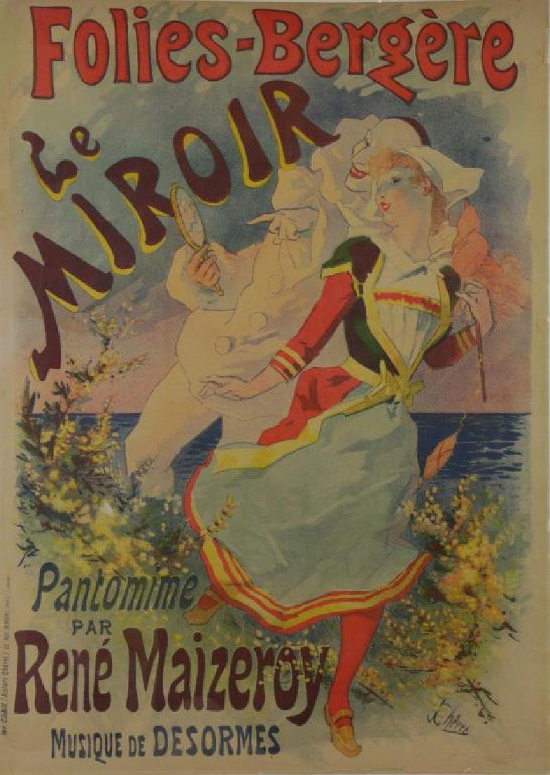 "CHERET, Jules. Color Lithograph Poster. ""Folies-"