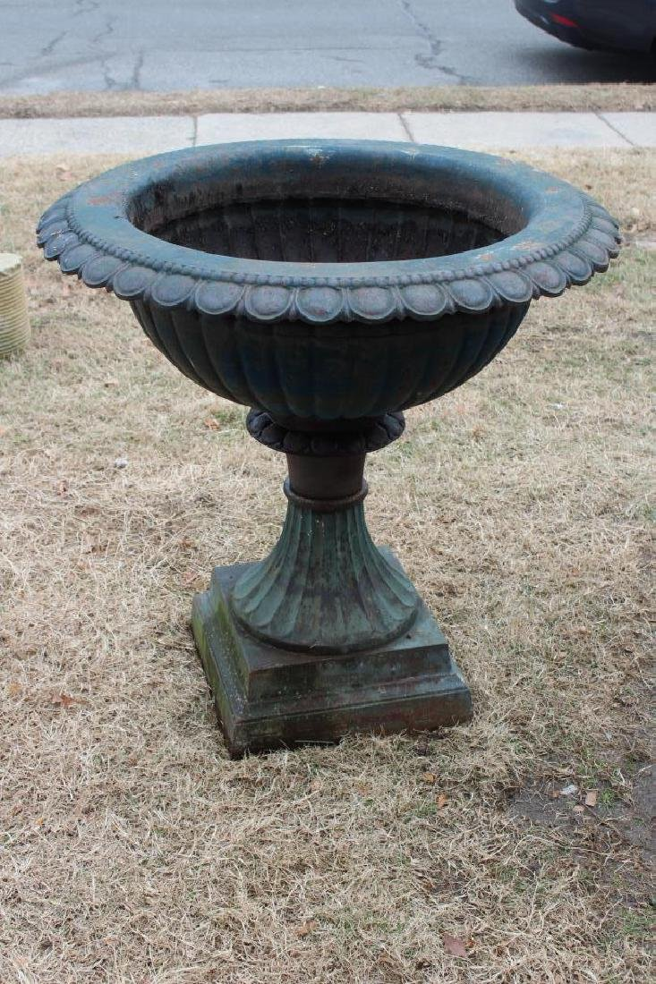 Large Patinated Cast Iron Pedestal Planter.