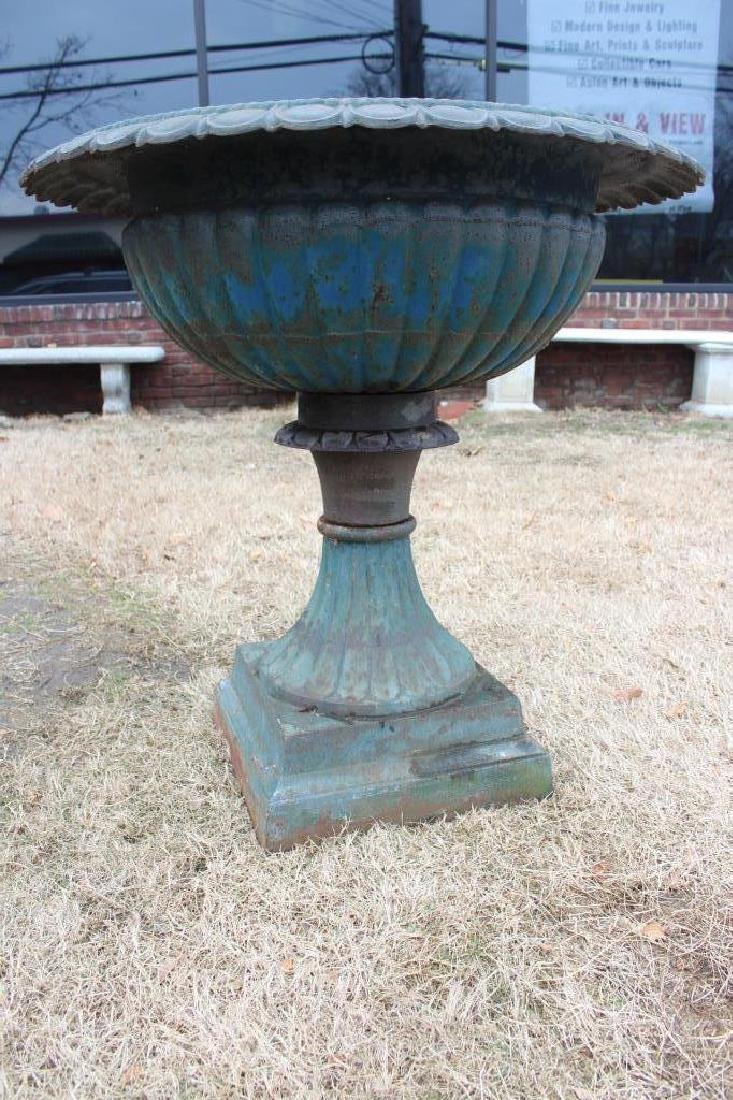 Large Patinated Cast Iron Pedestal Planter. - 3