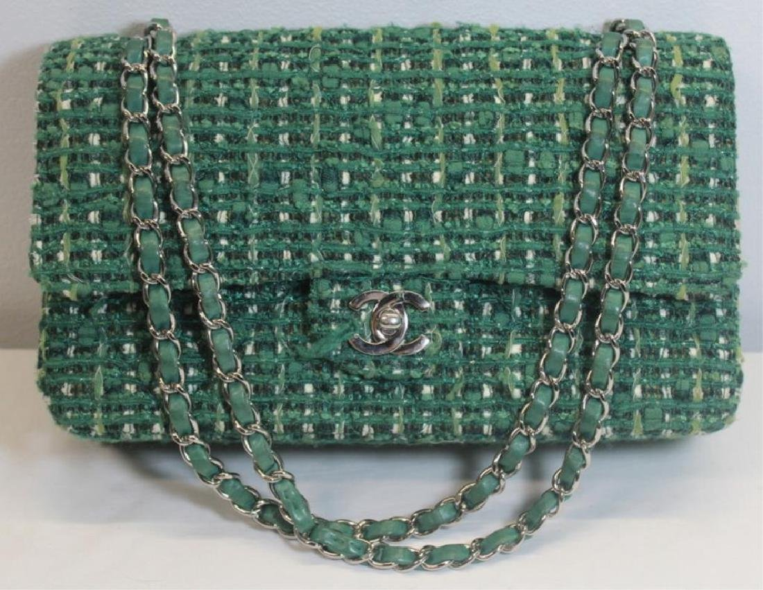 Chanel Green and White Tweed Double Flap Purse.