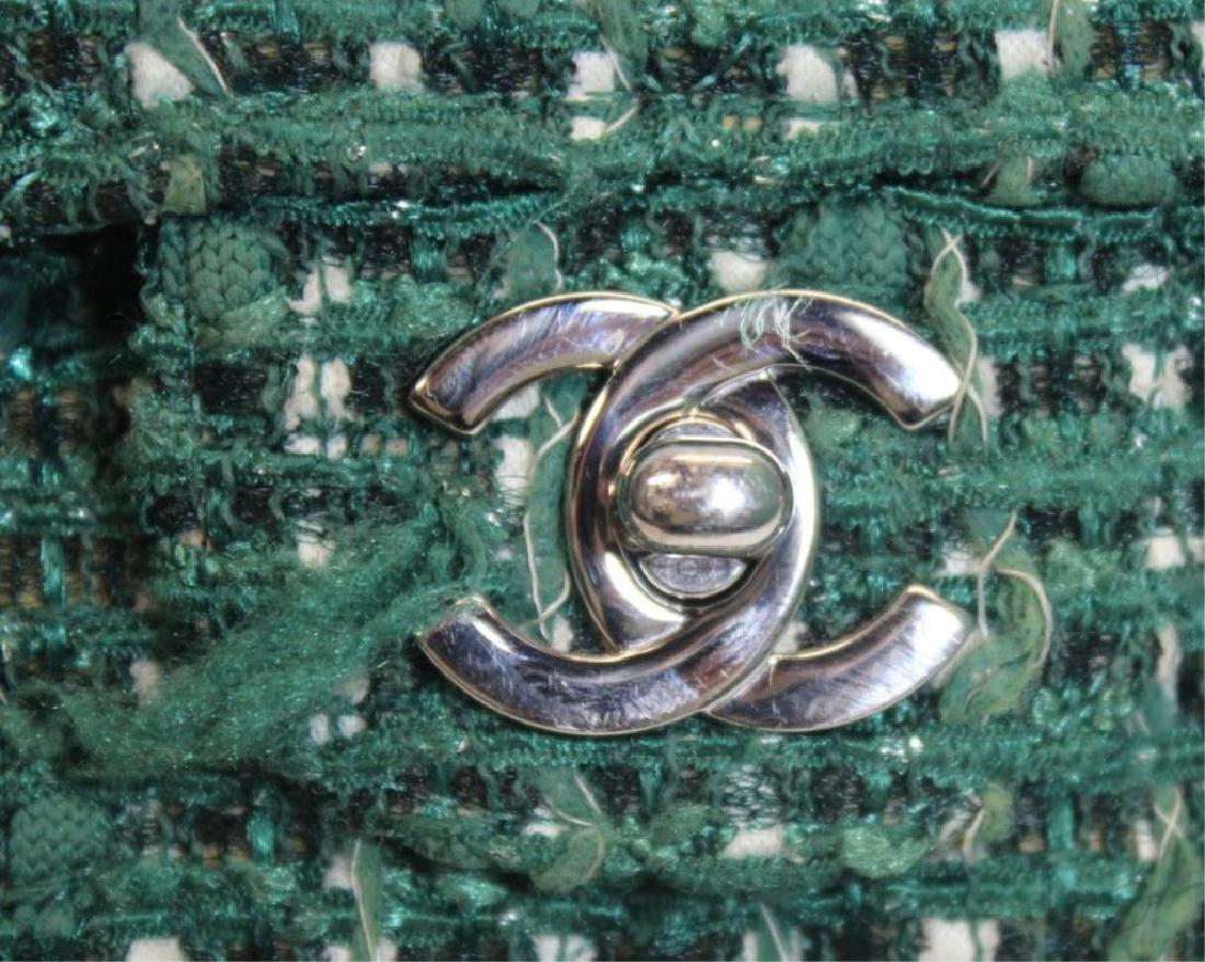 Chanel Green and White Tweed Double Flap Purse. - 2