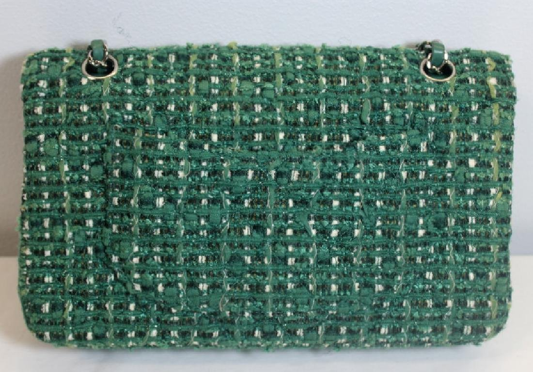 Chanel Green and White Tweed Double Flap Purse. - 3