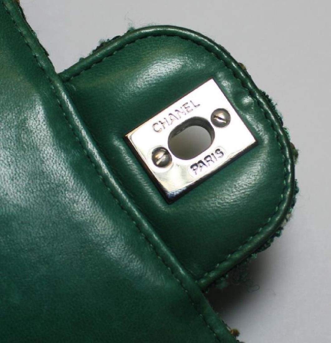 Chanel Green and White Tweed Double Flap Purse. - 5