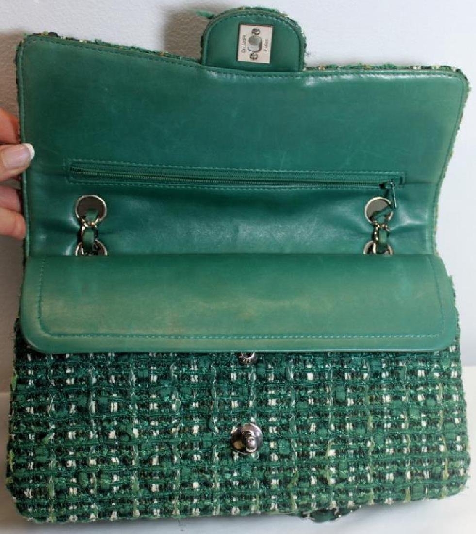 Chanel Green and White Tweed Double Flap Purse. - 6