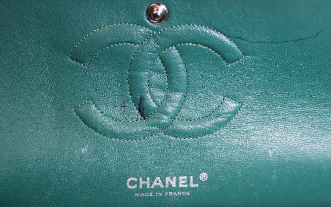 Chanel Green and White Tweed Double Flap Purse. - 7