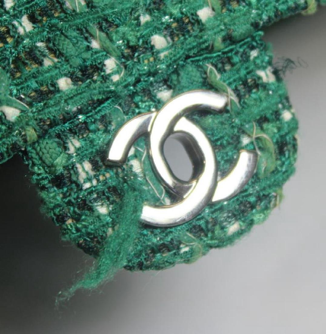 Chanel Green and White Tweed Double Flap Purse. - 9