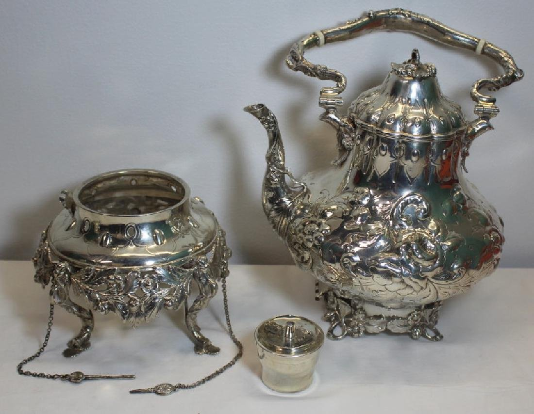 SILVER. 3 Piece Assembled Scottish Silver Tea Service. - 8