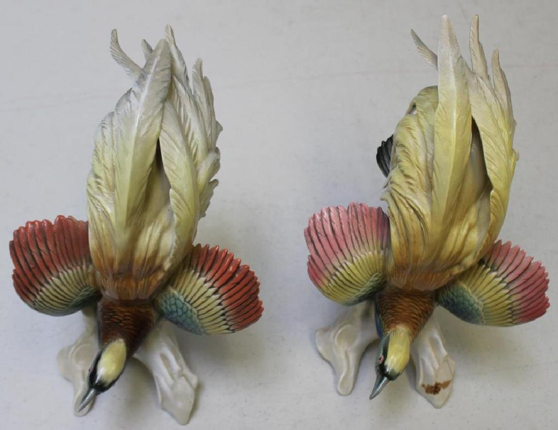 Pair Of Early Mark Herend Porcelain Parrots