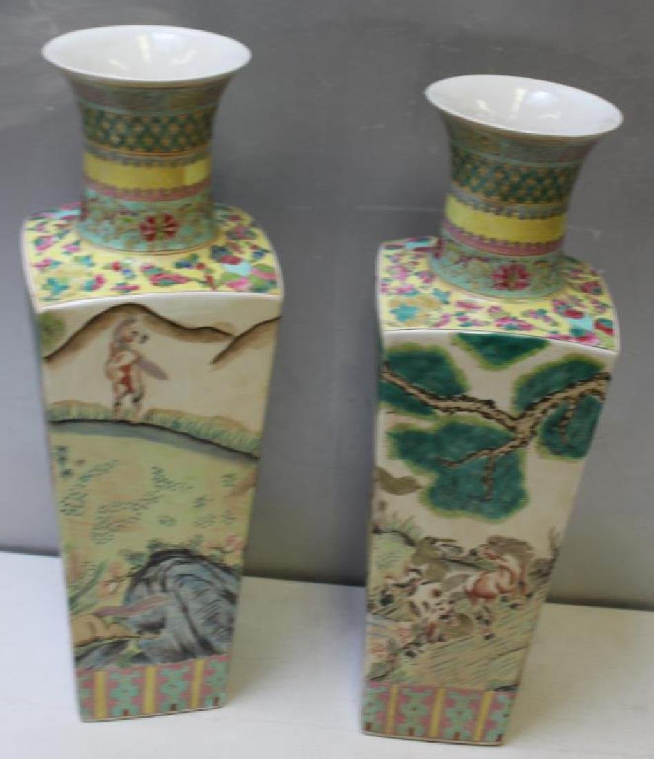 Pair Of Enamel Decorated And Signed Chinese - 4