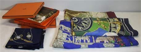 Grouping of Hermes Silk Scarves.