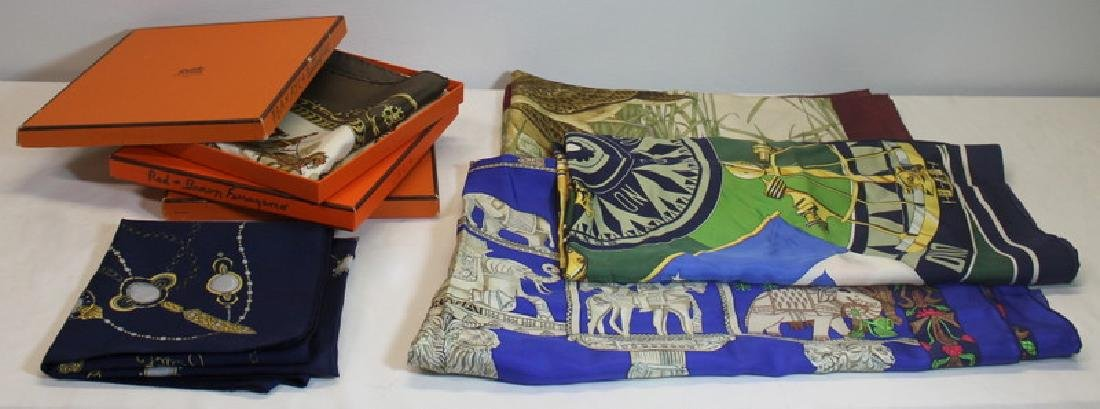 Grouping of Hermes Silk Scarves.