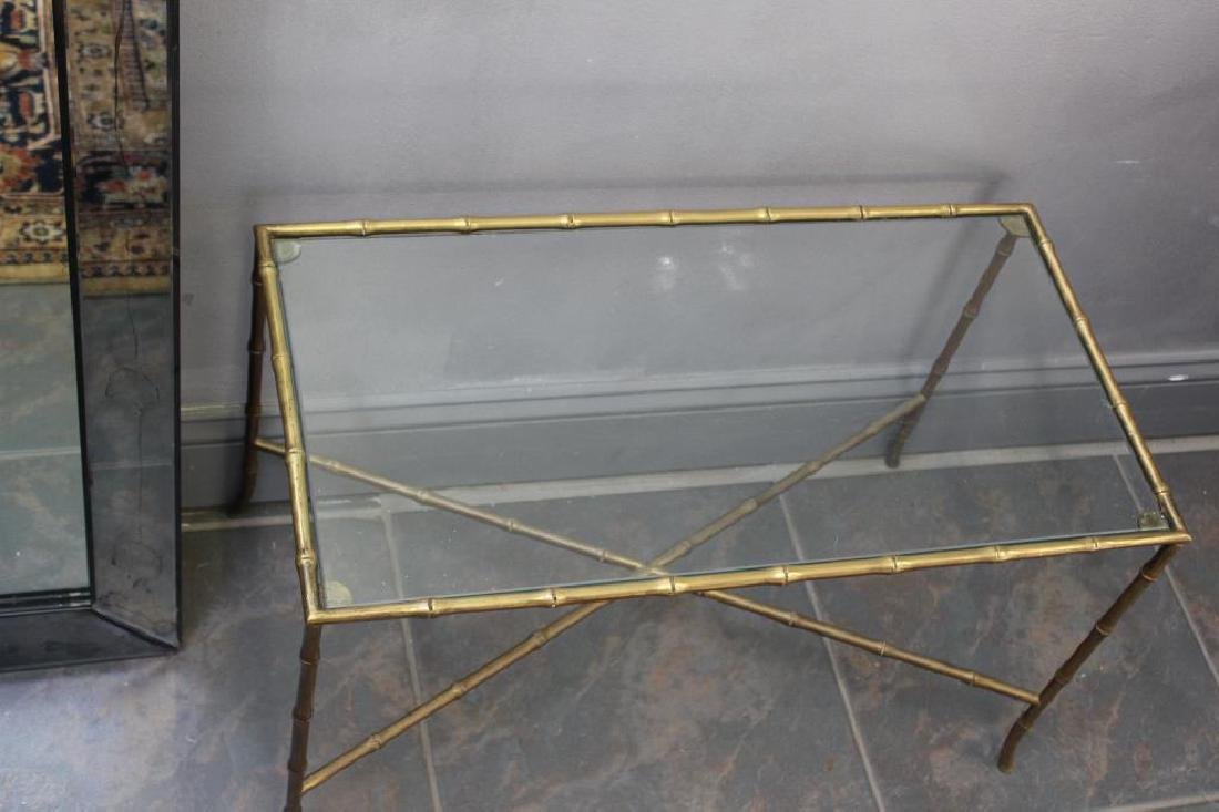 MIDCENTURY. Gilt Metal Bamboo Form Table - 6