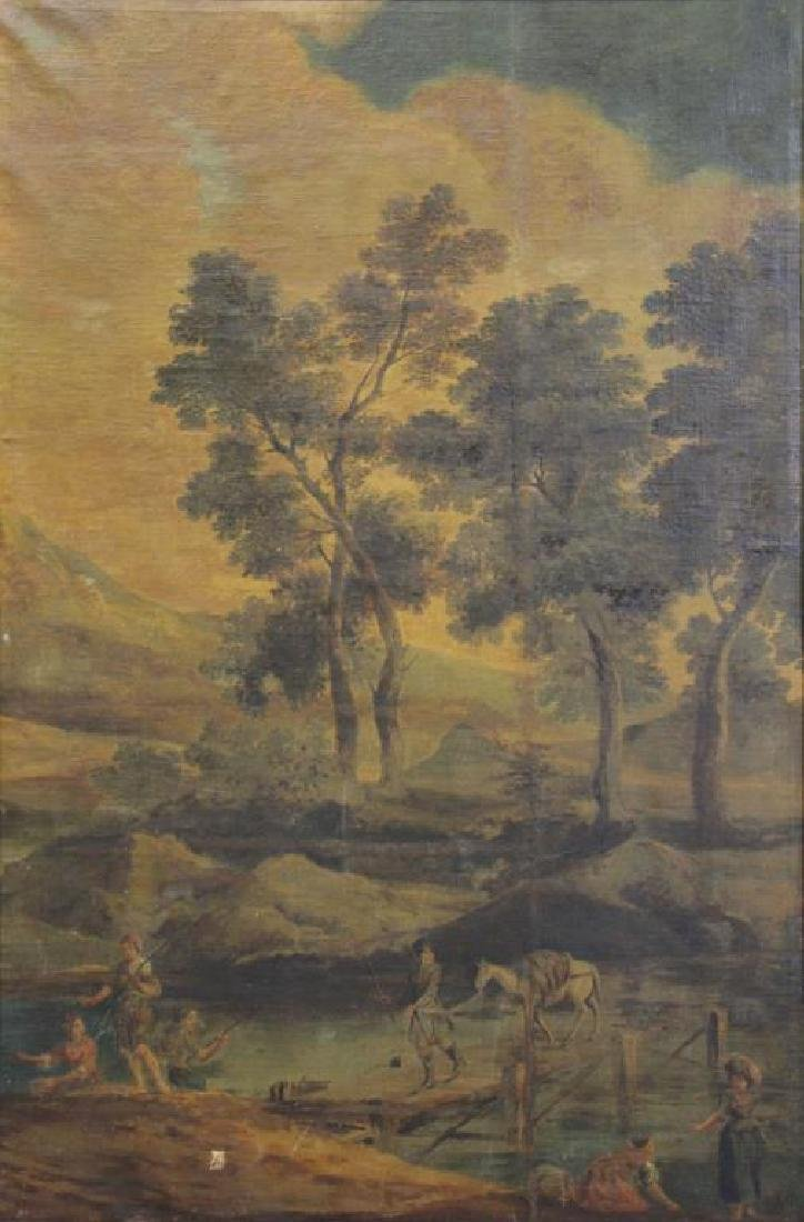 18th/19th C. Oil on Canvas. Fisherfolk in