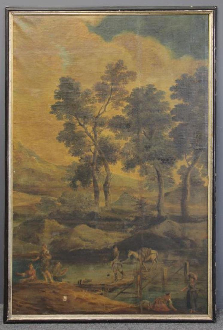 18th/19th C. Oil on Canvas. Fisherfolk in - 2