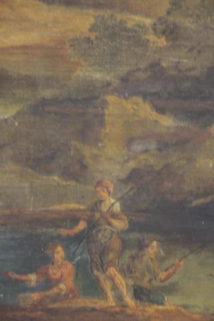 18th/19th C. Oil on Canvas. Fisherfolk in - 4